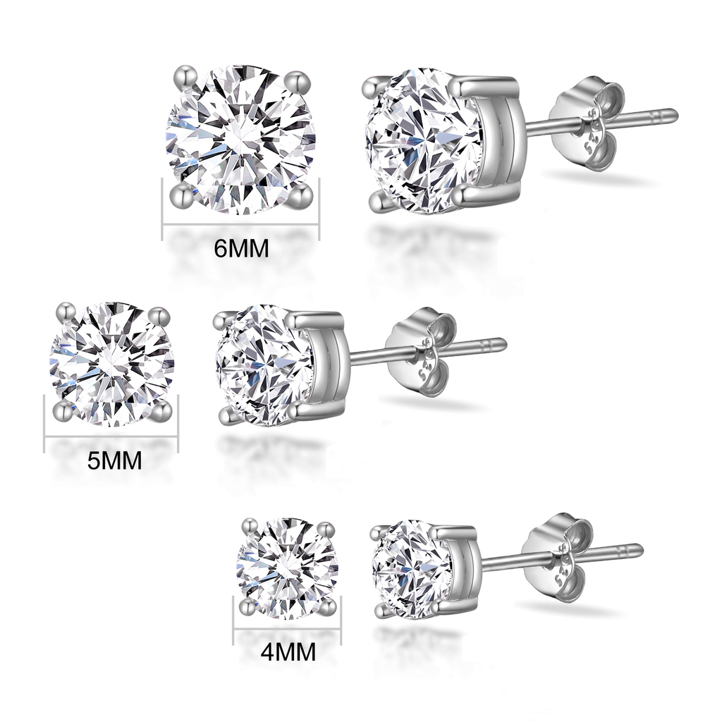 b56cdf87f ... Sterling Silver 3 Pack of 4, 5, and 6mm Earrings Created with Swarovski®  ...
