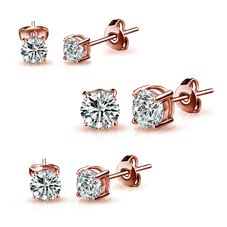 Three Pack of Rose Gold 4mm, 5mm & 6mm Earrings Created with Swarovski Crystals