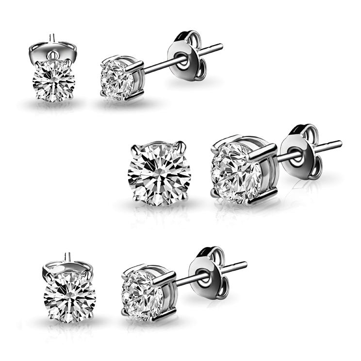 Three Pack of Silver 4mm, 5mm & 6mm Earrings Created with Swarovski Crystals