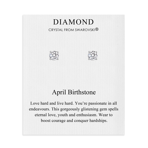 April (Diamond) Birthstone Earrings Created with Swarovski Crystals