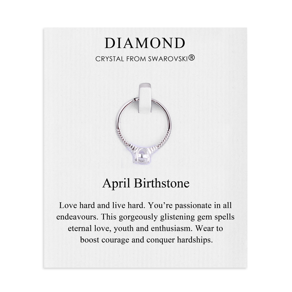 April (Diamond) Birthstone Ring Created with Swarovski Crystals