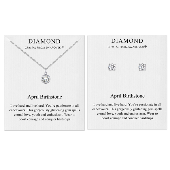 April (Diamond) Birthstone Necklace & Earrings Set Created with Swarovski® Crystals