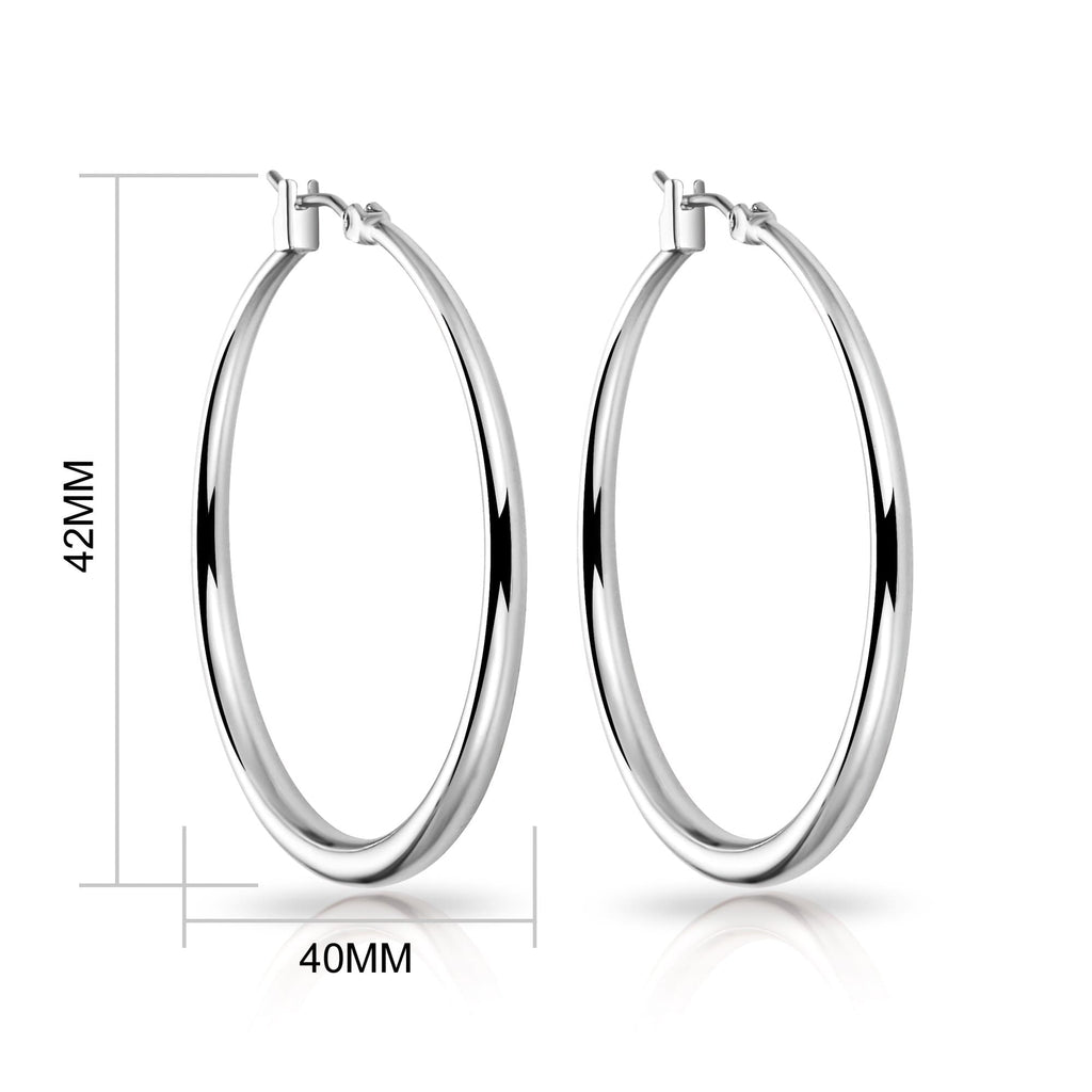 Silver 40mm Hoop Earrings
