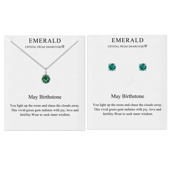 May (Emerald) Birthstone Necklace & Earrings Set Created with Swarovski® Crystals