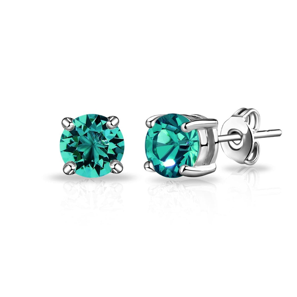 Green Stud Earrings Created with Swarovski® Crystals