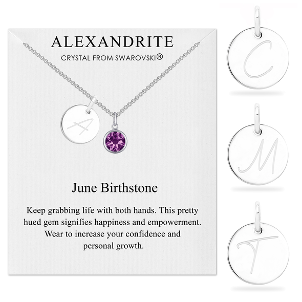 June Initial Birthstone Necklace Created with Swarovski® Crystals