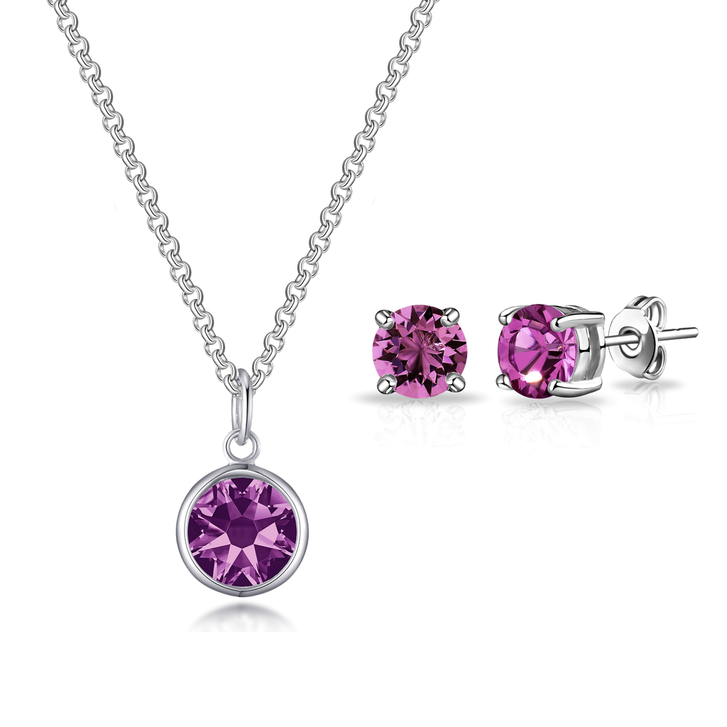 June (Alexandrite) Birthstone Necklace & Earrings Set Created with Swarovski® Crystals