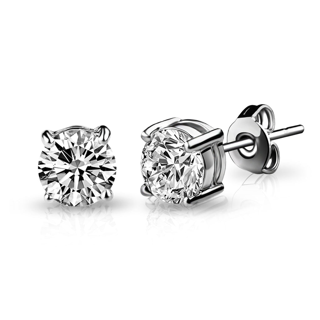 Silver Solitaire Crystal Stud Earrings Created with Swarovski® Crystals