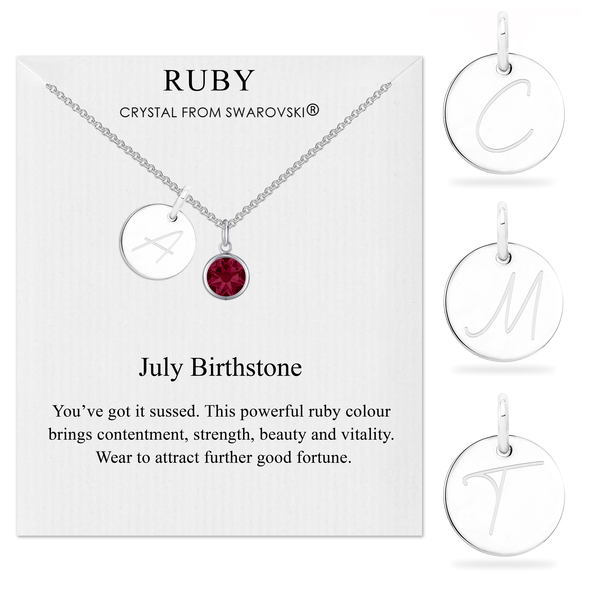 July Initial Birthstone Necklace Created with Swarovski® Crystals