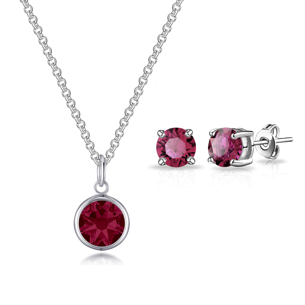 July (Ruby) Birthstone Necklace & Earrings Set Created with Swarovski® Crystals