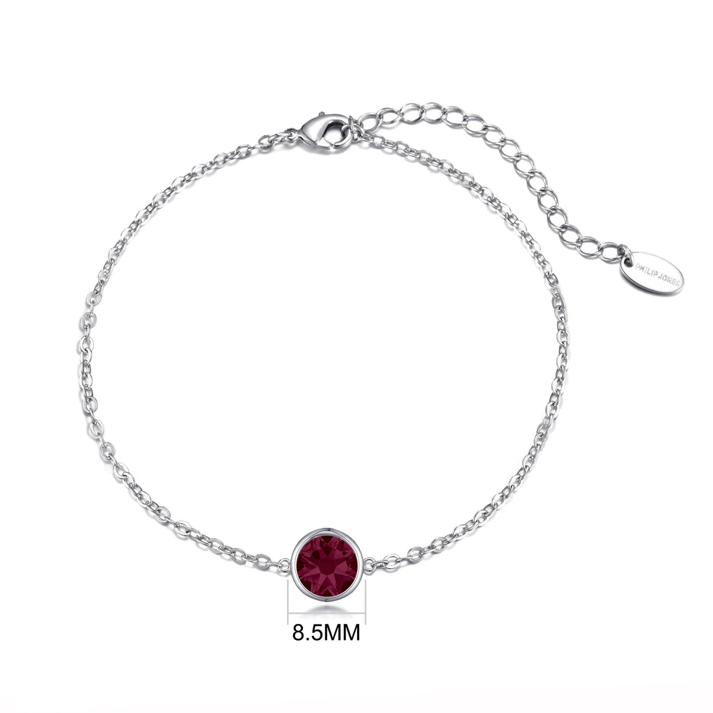 July (Ruby) Birthstone Anklet Created with Swarovski® Crystals