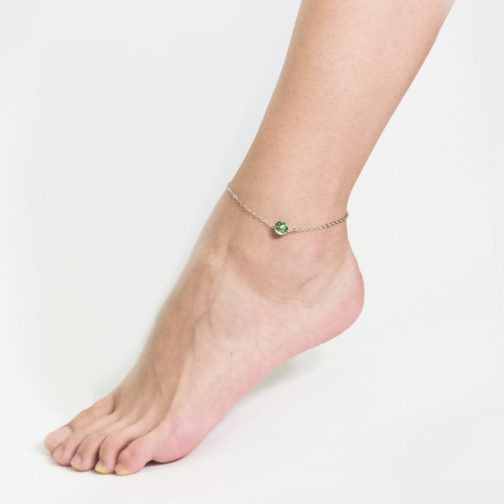 August (Peridot) Birthstone Anklet Created with Swarovski® Crystals