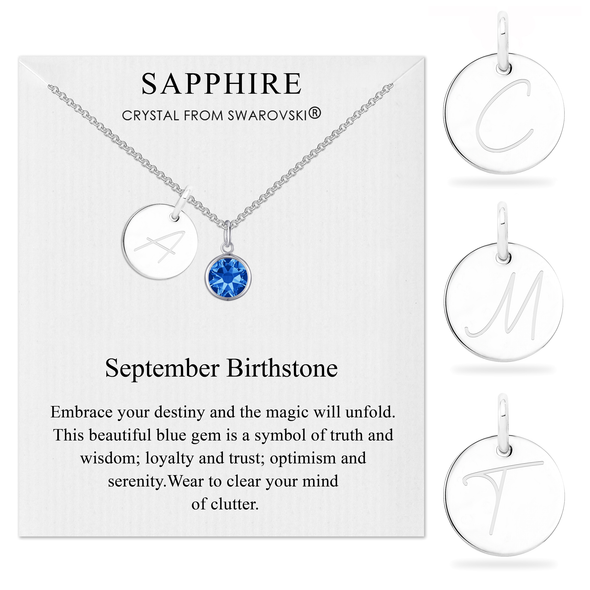 September Initial Birthstone Necklace Created with Swarovski® Crystals