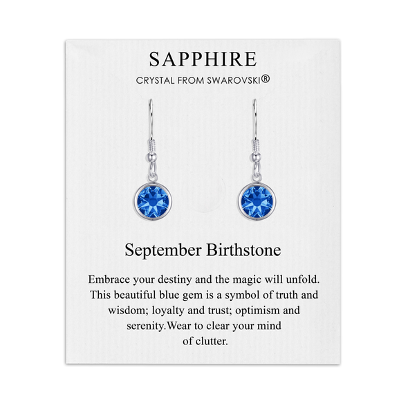 September Birthstone Drop Earrings Created with Sapphire Swarovski® Crystals
