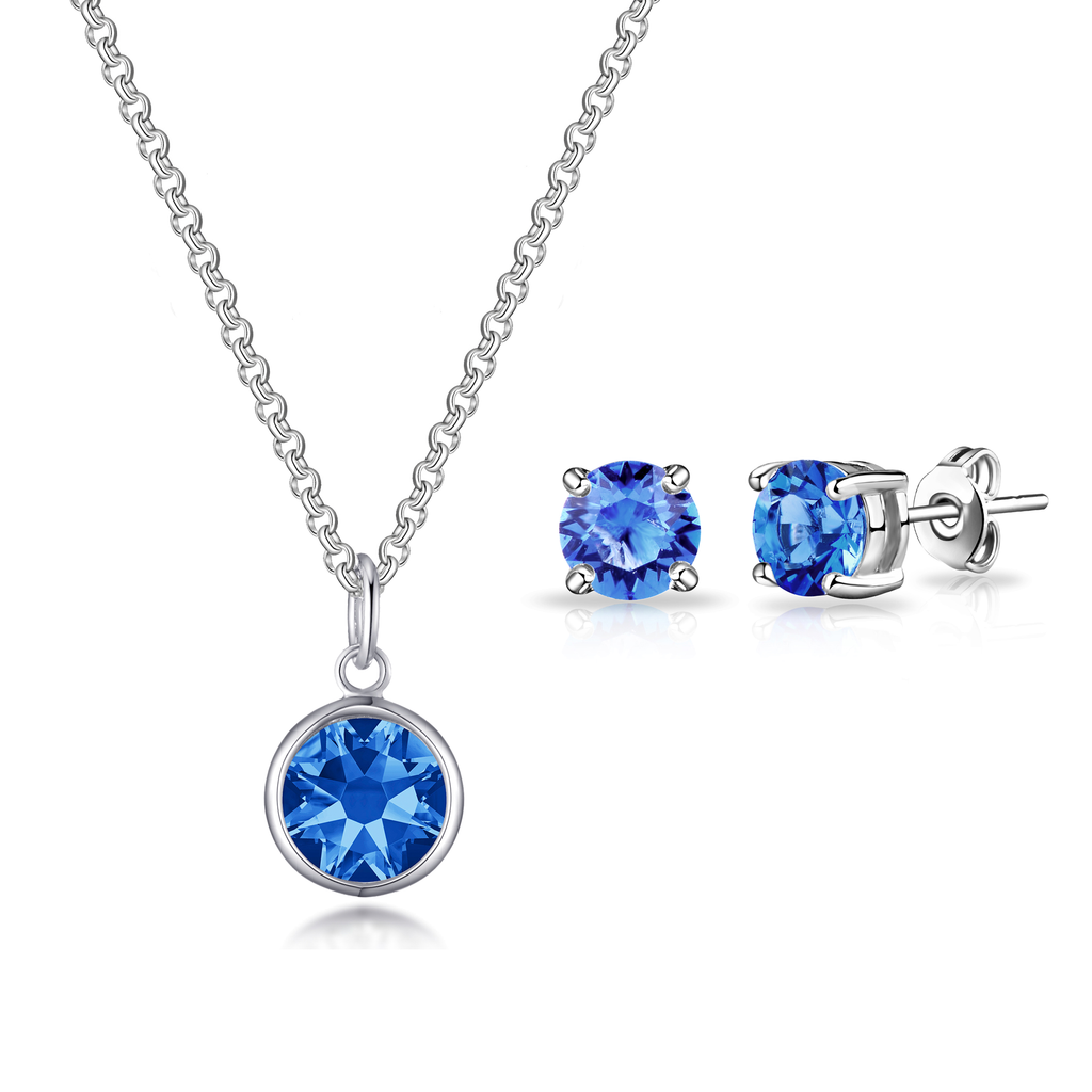 September (Sapphire) Birthstone Necklace & Earrings Set Created with Swarovski® Crystals
