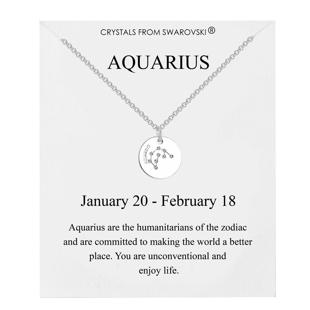 Aquarius Starsign Disc Necklace Created with Swarovski® Crystals