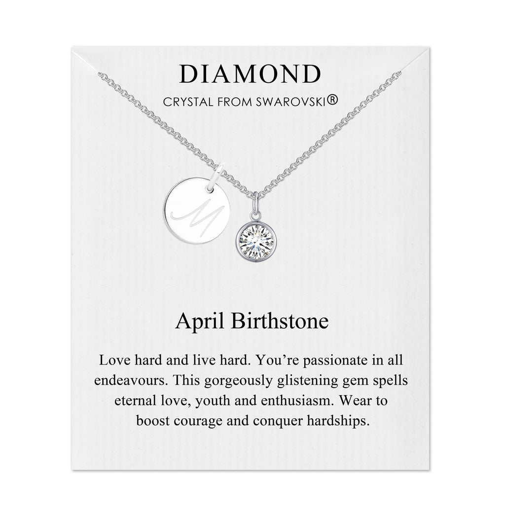 April Initial Birthstone Necklace Created with Swarovski® Crystals