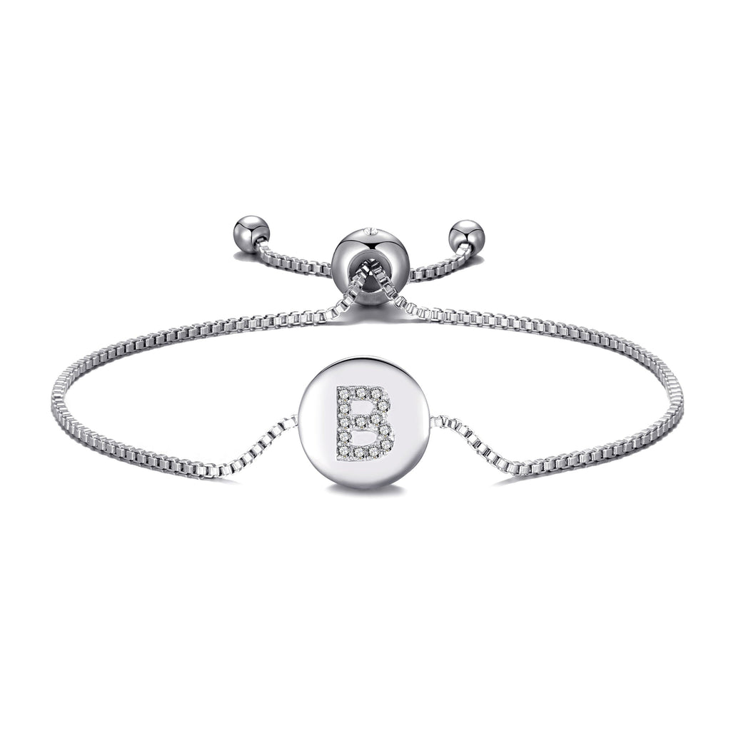 Initial Friendship Bracelet Letter B Created with Swarovski® Crystals