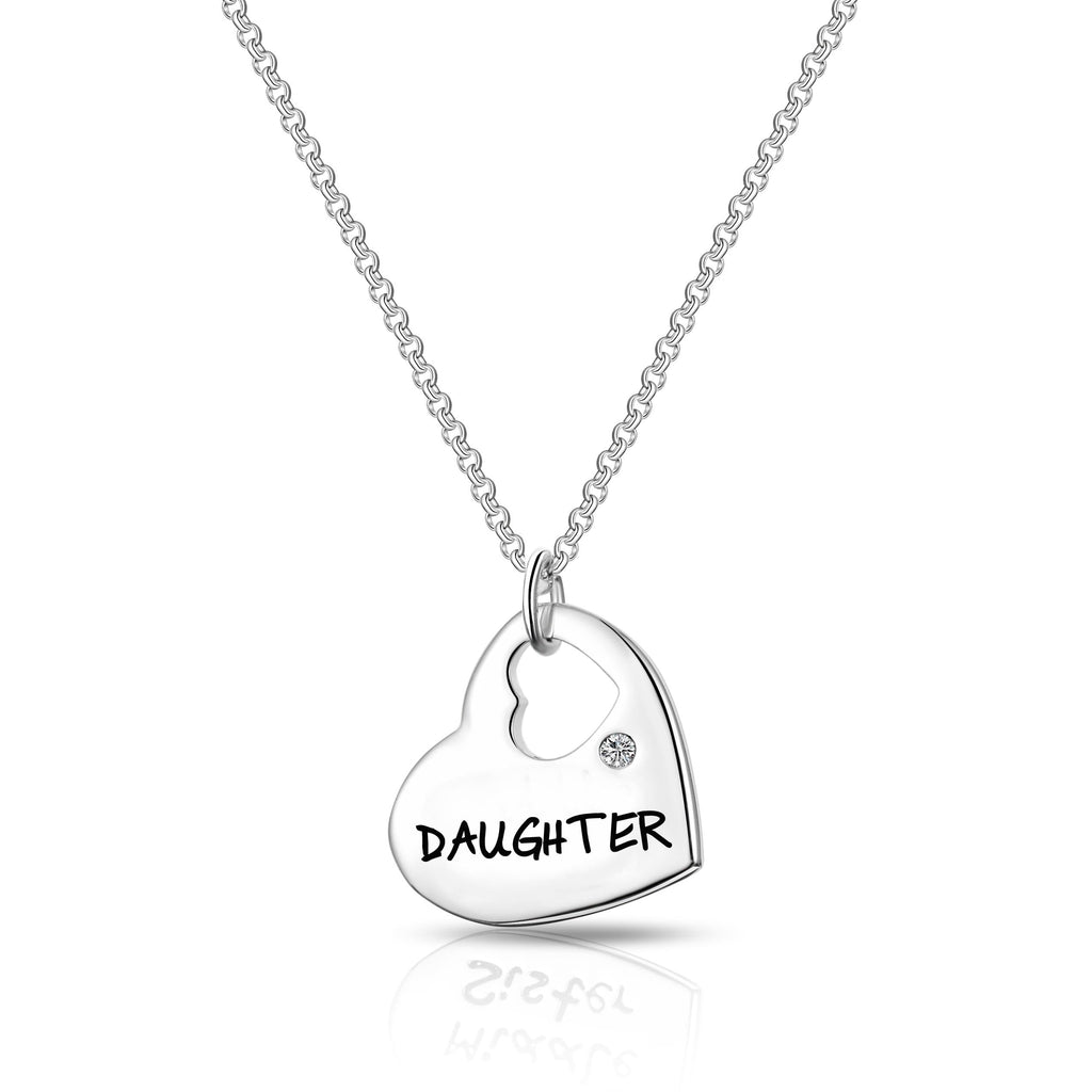 Daughter Heart Necklace Created with Swarovski Crystals