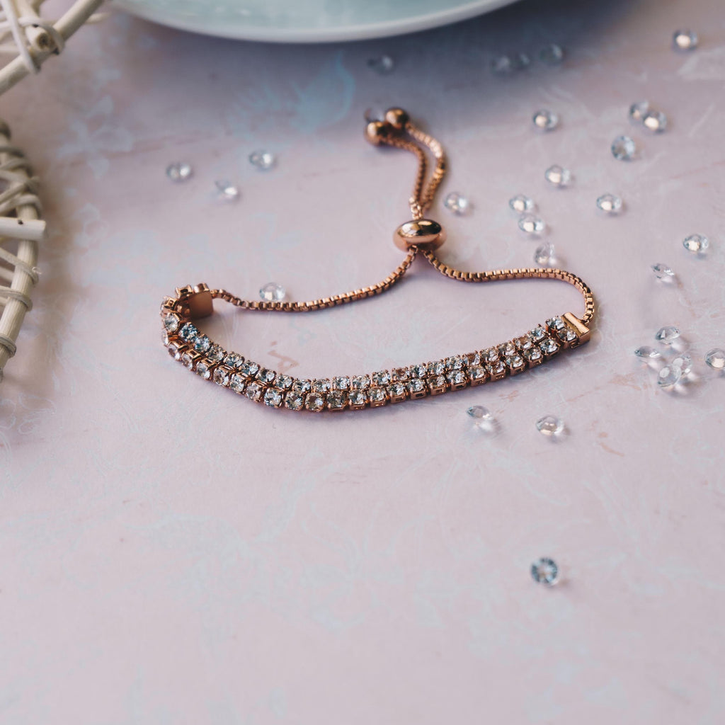 Rose Gold Double Row Tennis Friendship Bracelet Created with Swarovski® Crystals