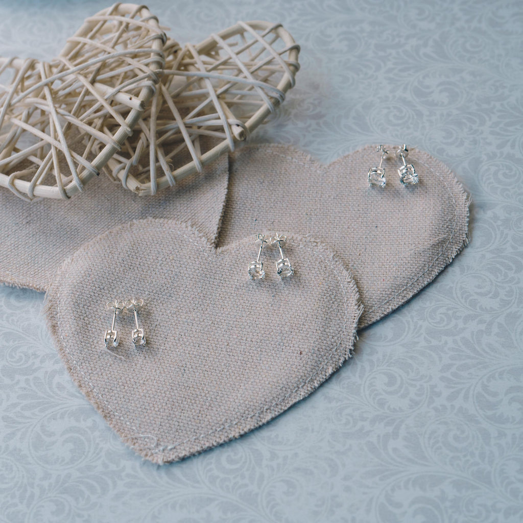 Three Pack of Silver 4mm, 5mm & 6mm Earrings Created with Swarovski® Crystals
