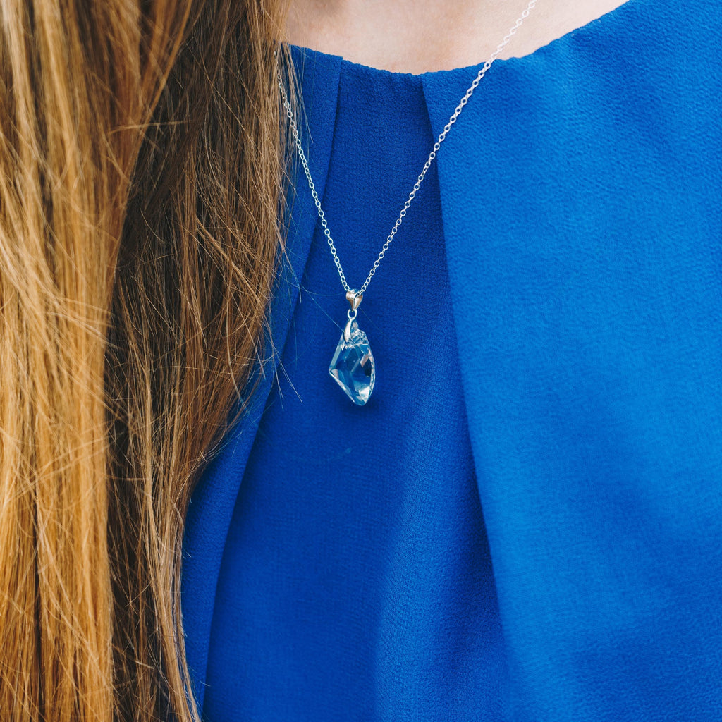 Sterling Silver Icecap Drop Necklace Created with Swarovski® Crystals