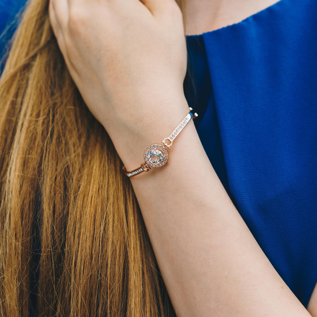 Rose Gold Halo Friendship Bracelet Created with Swarovski® Crystals