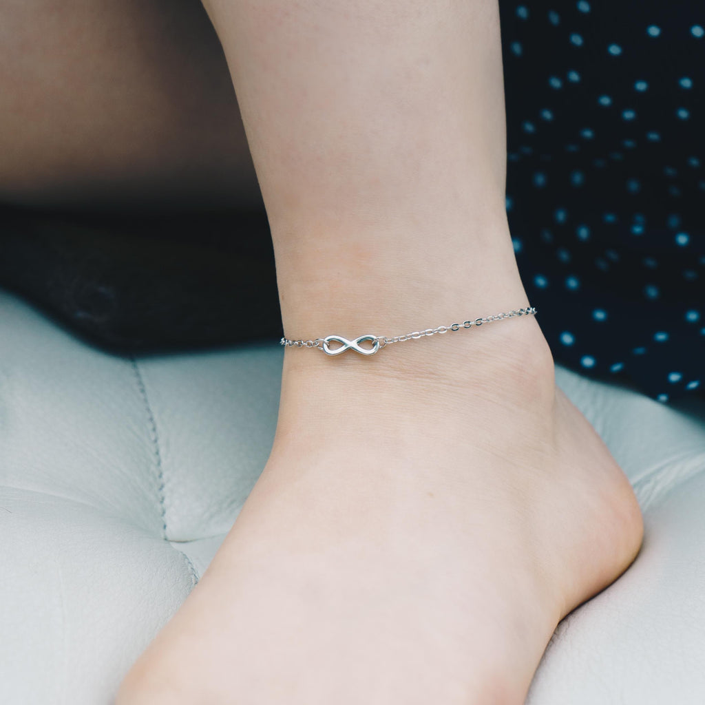 Silver Infinity Anklet Created with Swarovski® Crystals