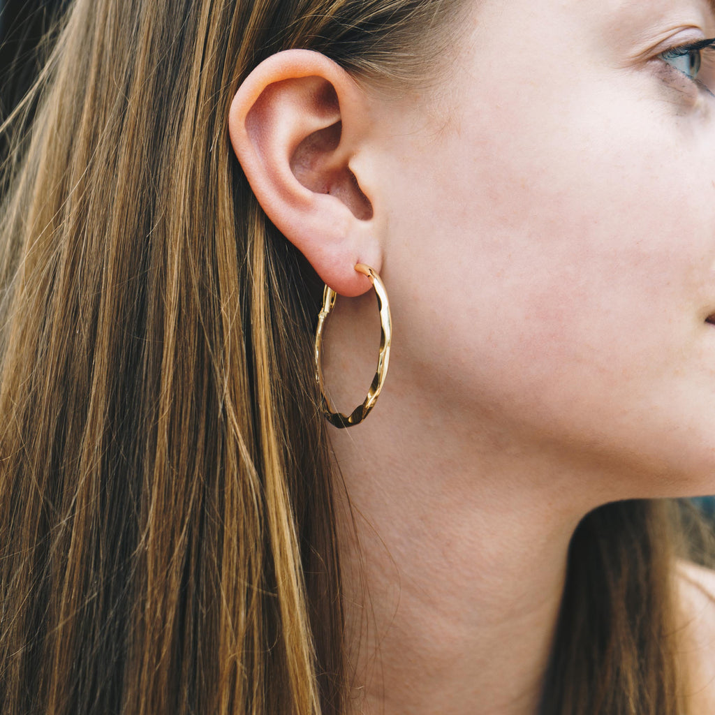 Gold 40mm Crimped Hoop Earrings