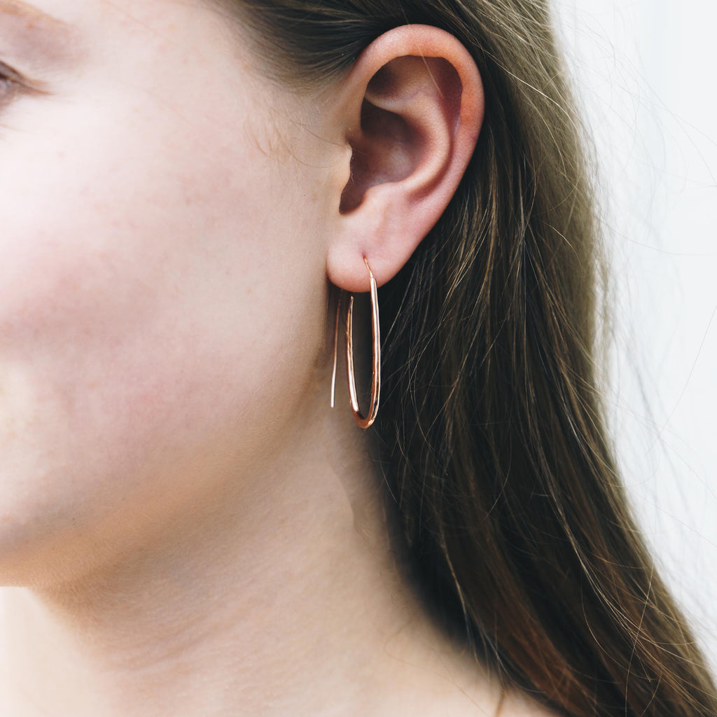 Rose Gold Sterling Silver Hammered Hoop Earrings