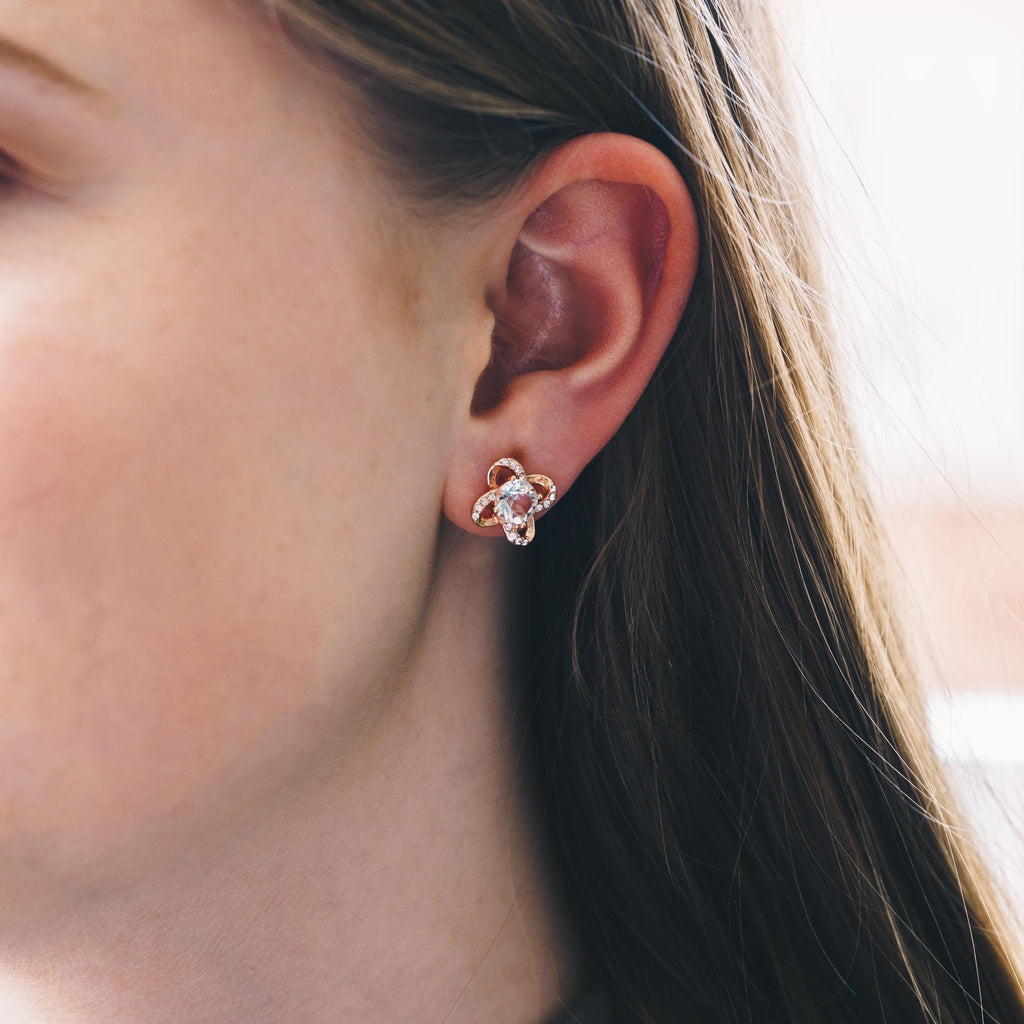 Rose Gold Orbit Earrings Created with Swarovski® Crystals