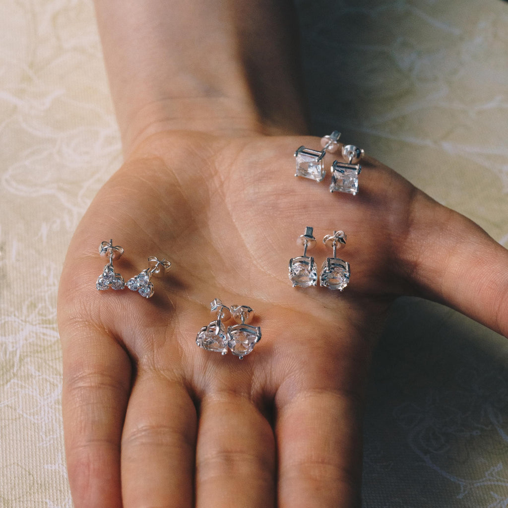 Four Pairs of Earrings Created with Swarovski® Crystals