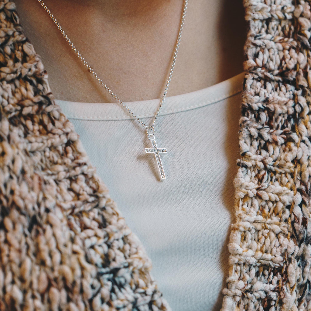 Silver Pave Cross Necklace Created with Swarovski Crystals
