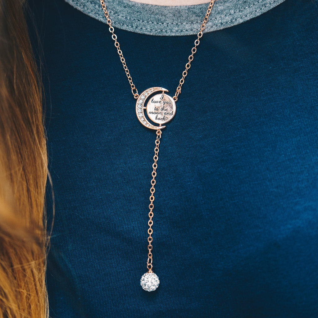 Rose Gold Moon and Back Necklace Created with Swarovski Crystals