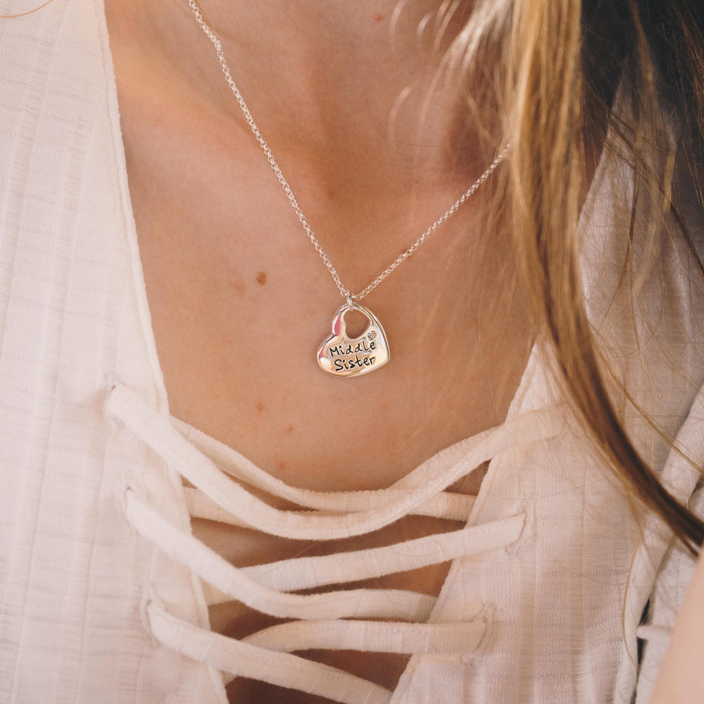 Middle Sister Heart Necklace Created with Swarovski® Crystals