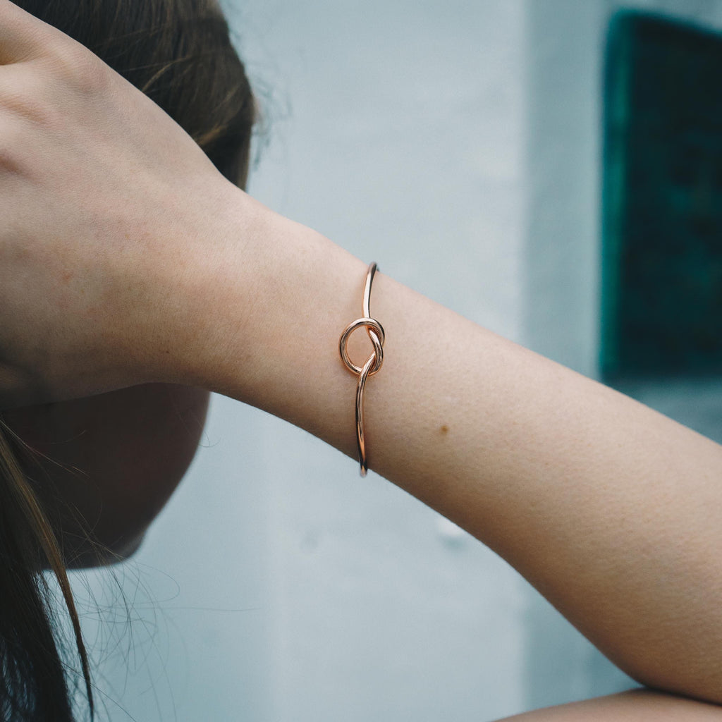 Rose Gold Love Knot Cuff Bangle