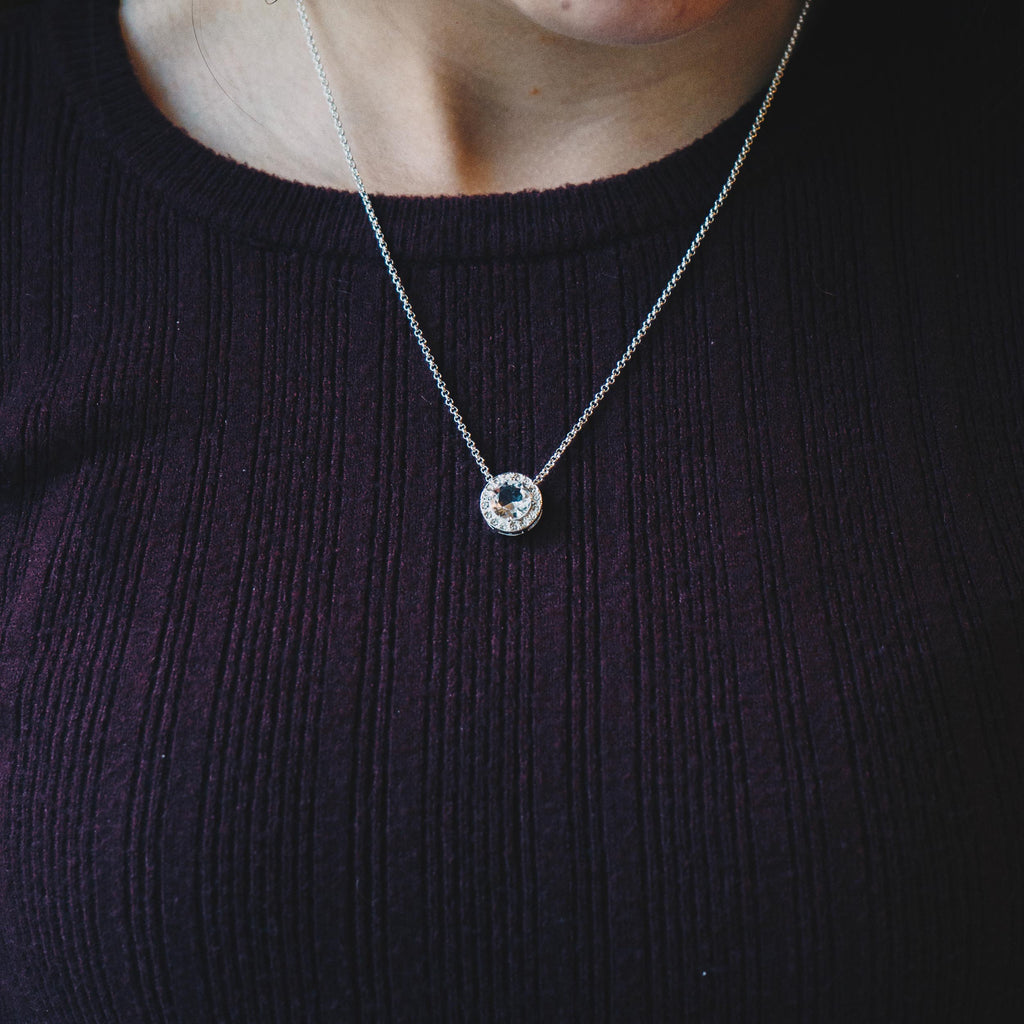 Halo Necklace Created with Swarovski Crystals