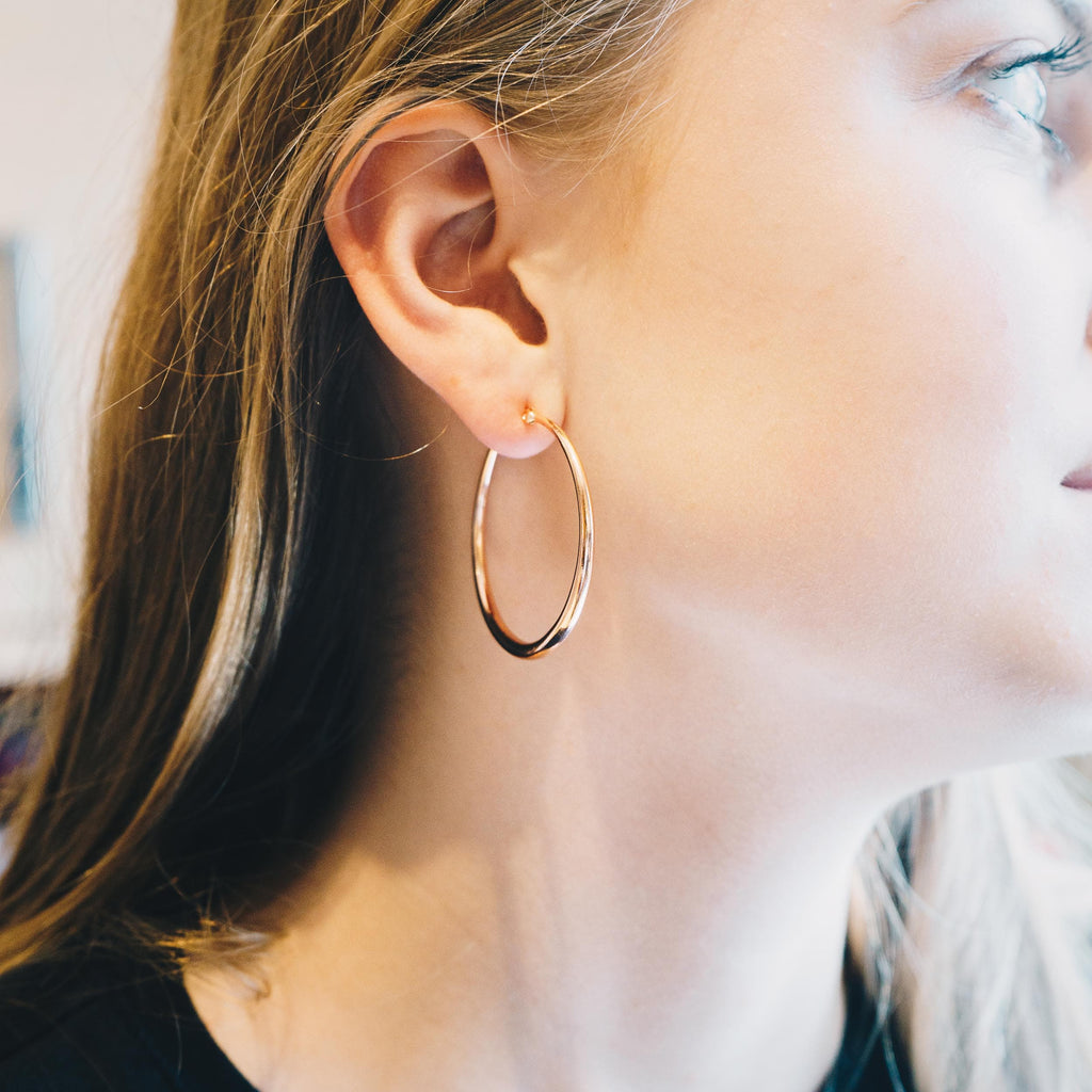 Rose Gold 40mm Hoop Earrings