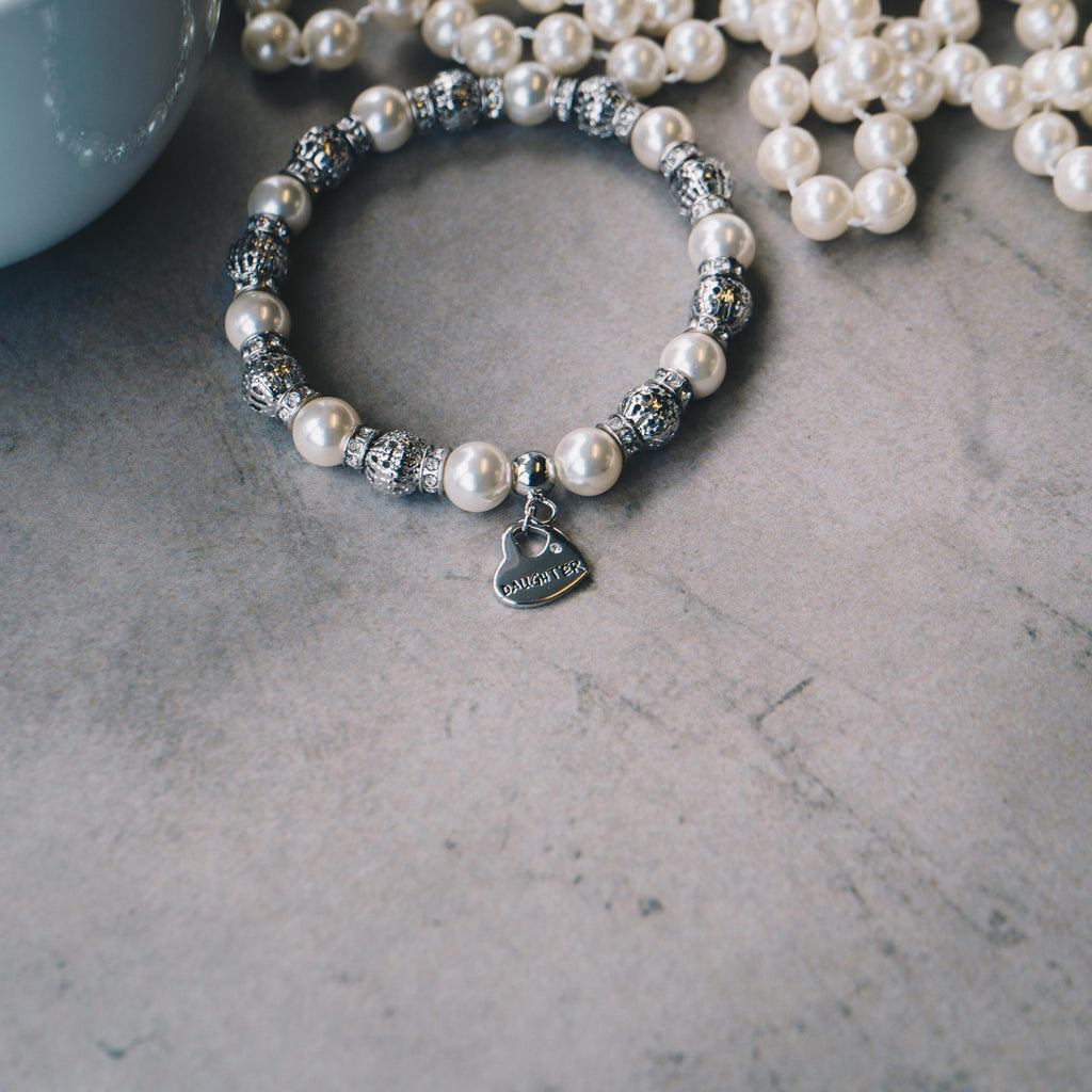Pearl and Crystal Daughter Charm Bracelet