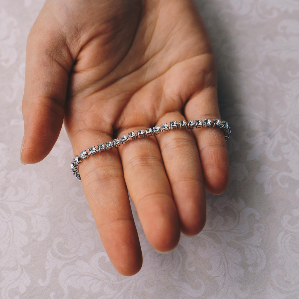 Silver 3mm Tennis Bracelet Created with Swarovski® Crystals