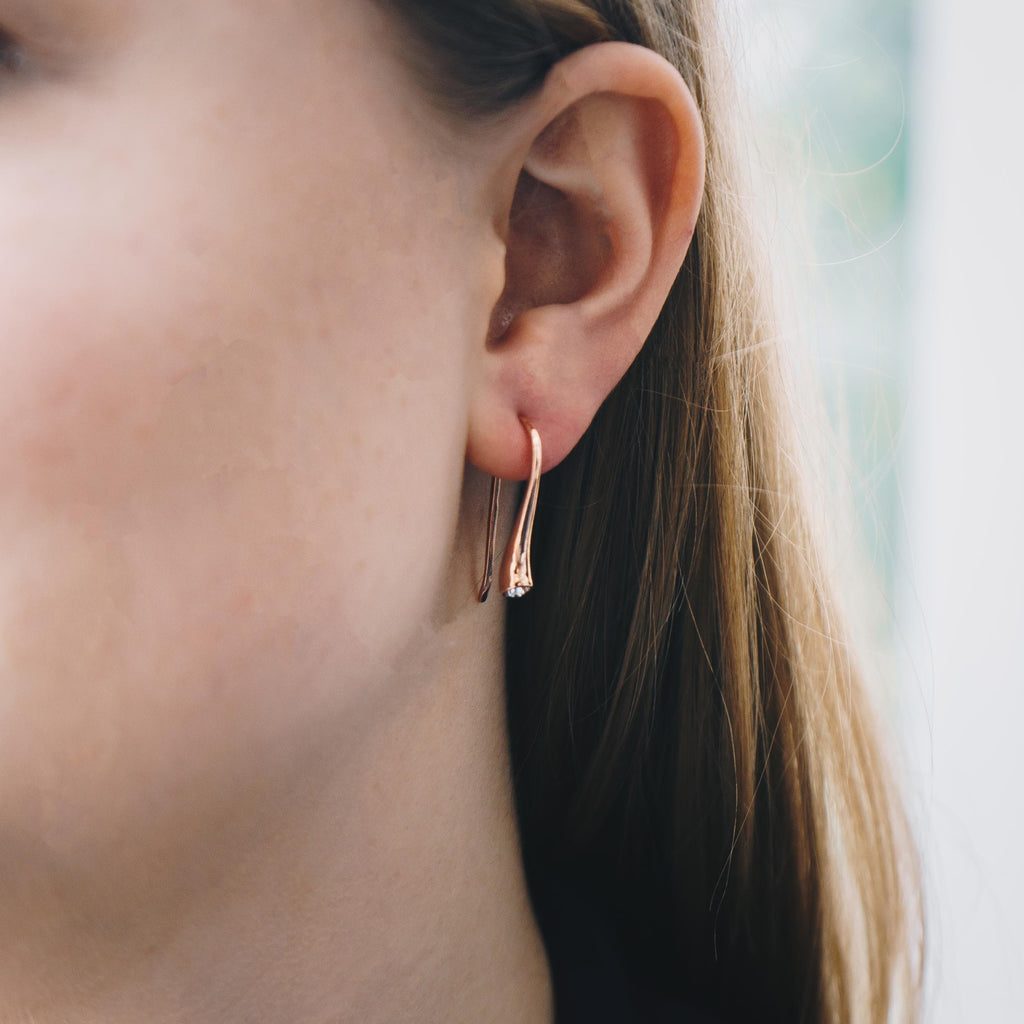 Rose Gold Sterling Silver Teardrop Earrings Created with Swarovski® Crystals