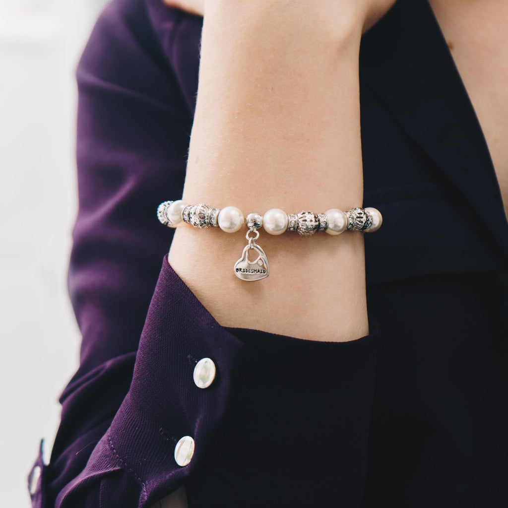 Pearl and Crystal Bridesmaid Charm Bracelet