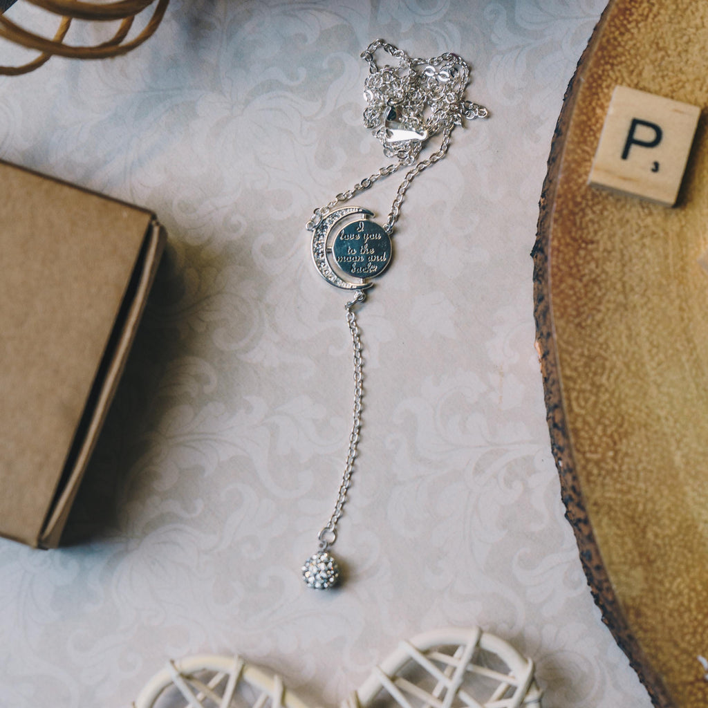 Silver Moon and Back Necklace Created with Swarovski® Crystals