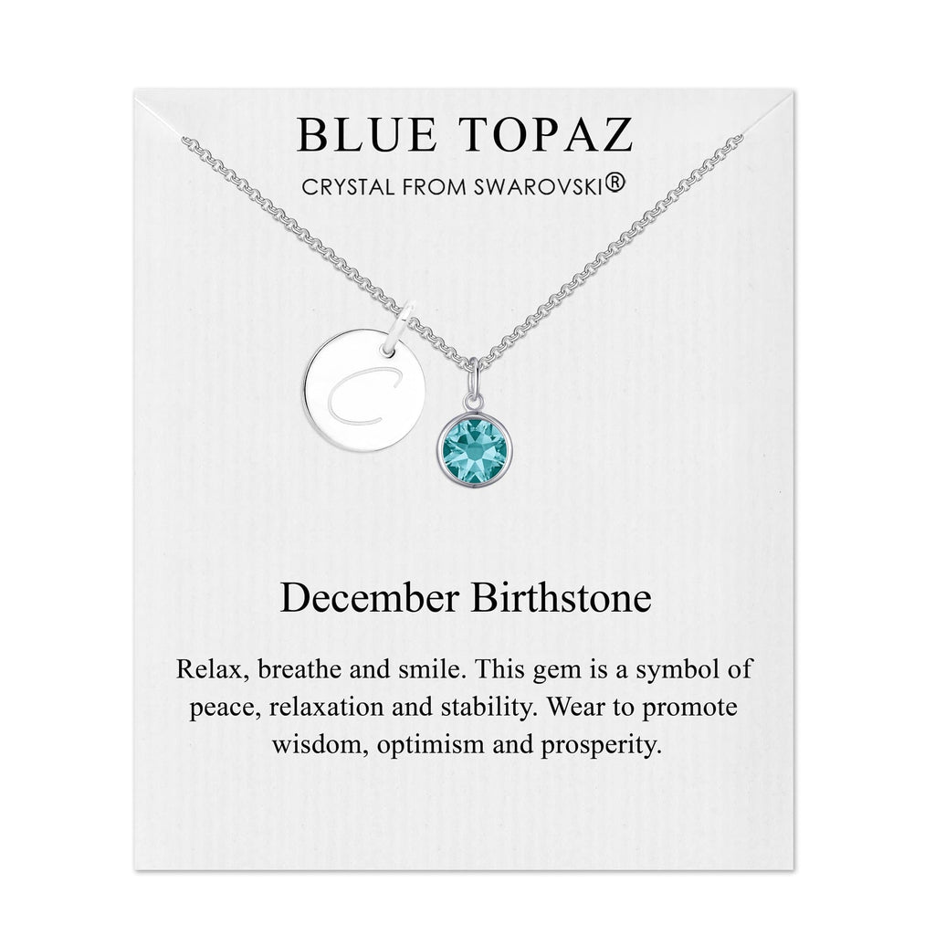 December Initial Birthstone Necklace Created with Swarovski® Crystals