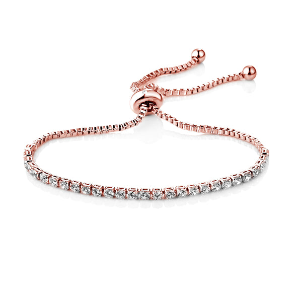 Rose Gold-Tone Solitaire Friendship Bracelet