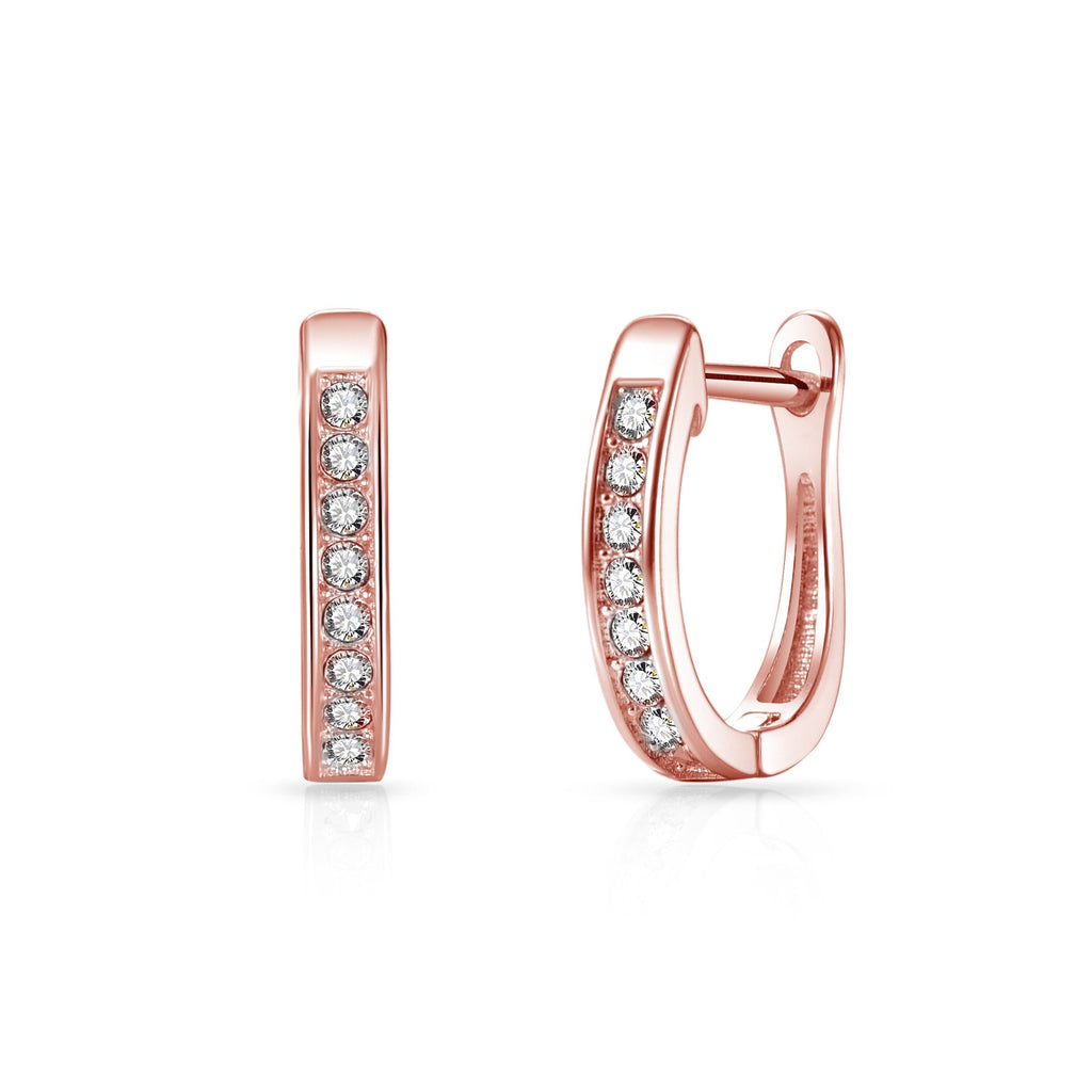 Rose Gold Channel Set Hoop Earrings Created with Swarovski Crystals