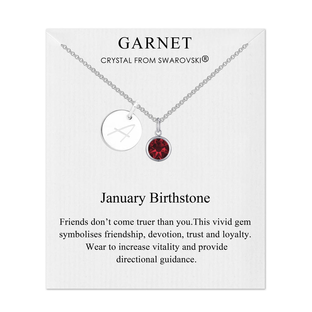 January Initial Birthstone Necklace Created with Swarovski® Crystals