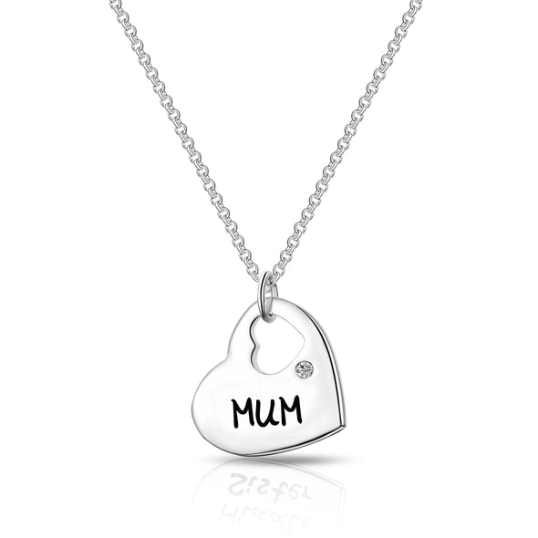 Mum - Heart Necklace Created with Swarovski Crystals