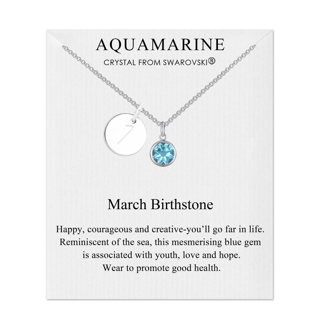 March Initial Birthstone Necklace Created with Swarovski® Crystals