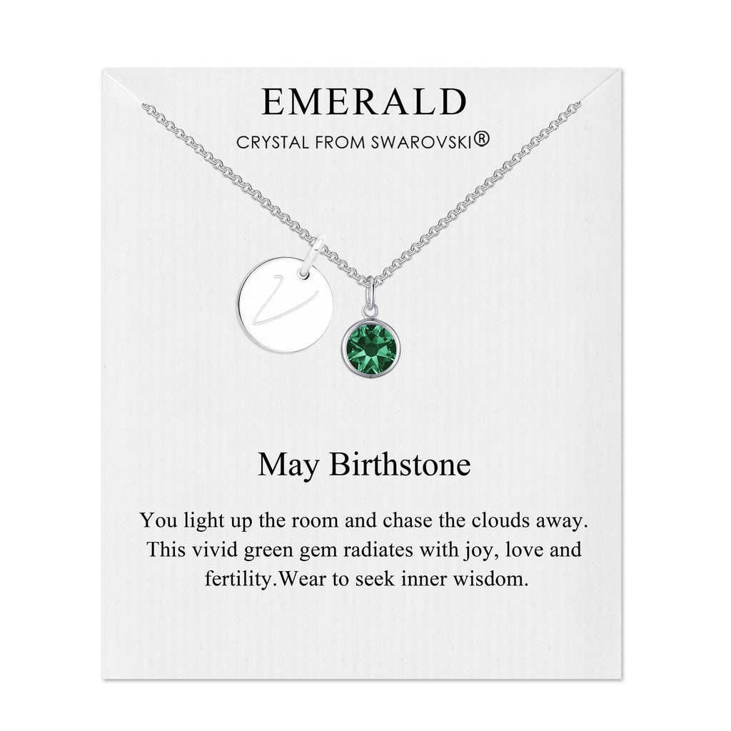 May Initial Birthstone Necklace Created with Swarovski® Crystals